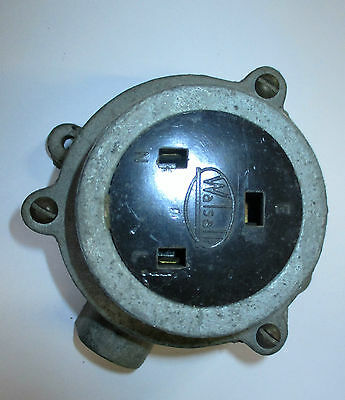 Walsall Vintage 13Amp Cast Iron Galv Weatherproof Socket  Used Socket Only