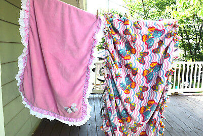 Baby Girl Blanket Throw Lot of 2 Butterfly Pink Gray Sherpa Plush Velour Satin