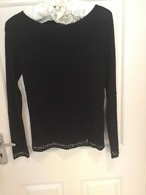 Vintage Laura Ashley Beautiful Beading And SequinEvening Top Size S Black Unworn