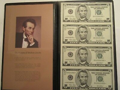Uncut sheet of 4 2003  $5 Federal Reserve STAR Notes, Bookstyle holder
