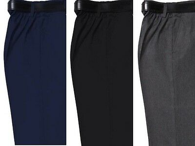 Boys Sturdy Fit School Trousers Half Elasticated~Short Leg~All Sizes