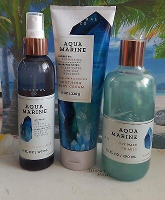 bath and body works aquamarine body cream bubbly wash fine fragrance mist