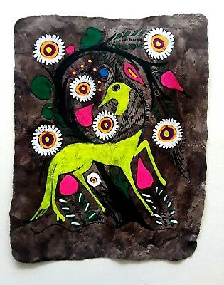 """Vintage Mexican Amate Bark Painting Folk Art Mexico, approx. 10 1/2"""" x 13"""""""