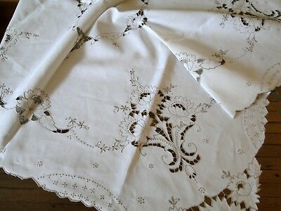 Antique Linens- Two Matching Madeira Tablecloths