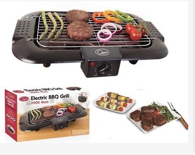 Electric Bbq Barbecue Grill Griddle Table Top Camping Kitchen Cooking 2000W