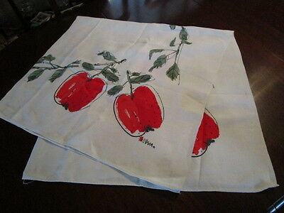 LOVELY Vintage VERA HAND PAINTED WHITE LINEN TABLECLOTH RED APPLES
