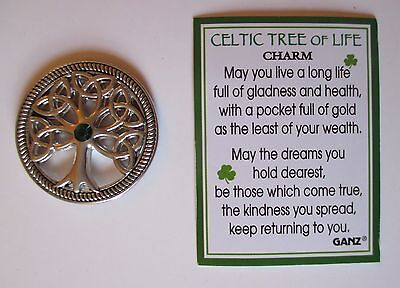 dd Celtic Tree Of Life POCKET TOKEN CHARM Irish Ganz long life health happiness
