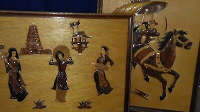 Picture wall hanging Oriental wood INTARSIA WOOD ART  Framed two