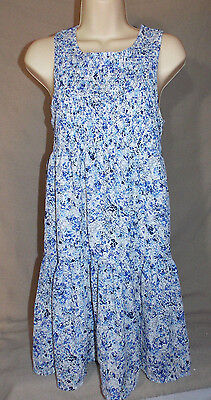 7f7280f9f57 Womens Princess Vera Wang Junior's Blue Floral Smocked Babydoll Dress Medium