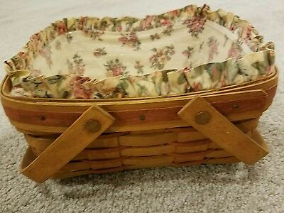 Longaberger 1992 Square Mother's Day Basket -Swing Handles - Red Accent Weaves