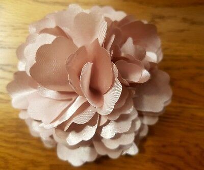 "Girls/Women 3.4""satin Flower Hair Clip Brooch,corsage.Champagne beige caramel"