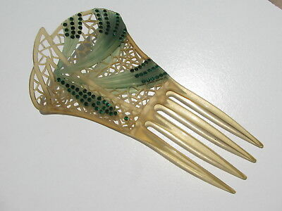 Rare Antique Vintage Victorian Swag Jabot Green Rhinestones Perforated Hair Comb