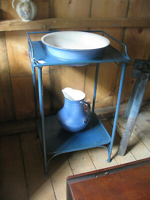 Antique Blue Washstand with Pitcher and Bowl