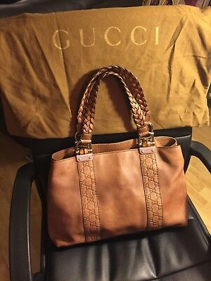 bf2c357789b GUCCI Brown Beige Pebbled Leather Bamboo Bar Tote Medium Bag Braided Handles