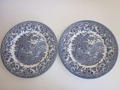 ETT Dinner Plates set of two made in England Blue and White