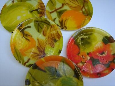 Lot of 6 Mid-Century Modern Fiberglass Coasters Floral Print Multi-Colored