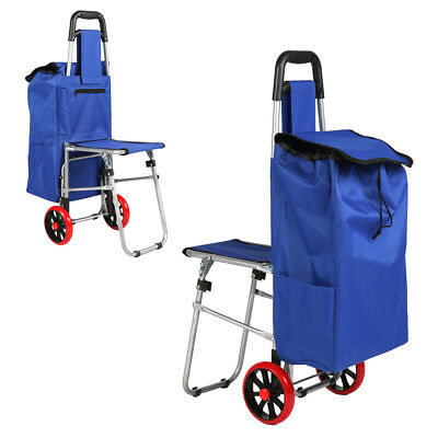 Multipurpose Folding Trolley Dolly with Seat,Blue Shopping Grocery Foldable Cart