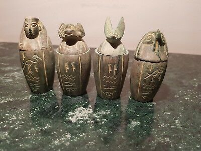 Rare Antique Ancient Egyptian 4 Canopic Jars Liver Lungs stomach 1570-1480BC