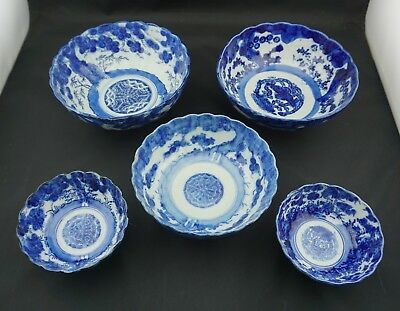 Imari Blue and White, Japanese, Late 19th C., 5 Bowls, Plum Tree Design
