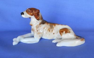 "Old Large English Bone China Irish Red & White Setter Dog Figurine 5.25"" L"