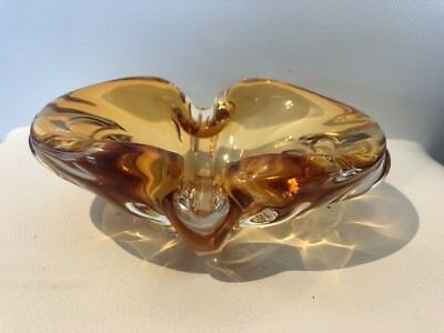 Vintage Signed Chalet Amber Blown Glass Ashtray