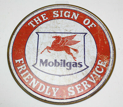 "Mobilgas Friendly Service 11 1/2"" Round Sign"