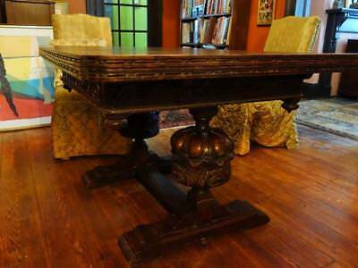 Rare English Ornate Victorian REFECTORY TABLE with Leaves