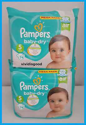 LOT DE 148 (2x74) COUCHES PAMPERS BABY-DRY TAILLE 5 MEGA PACK 11-16 kg NEUVES