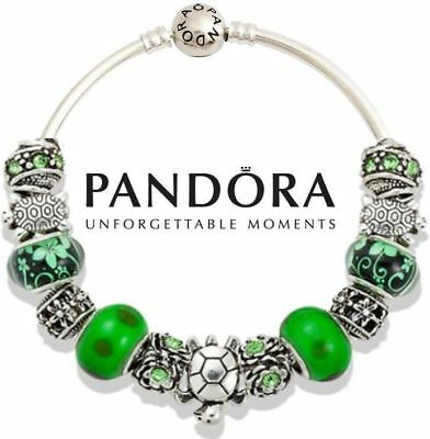 Authentic Pandora Bangle Bracelet Silver S925 with 13 charms Green Turtle Lovers