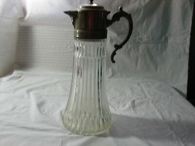 Vintage Large Silver Plated And Glass Patina Decanter Collectible Decorative 13""