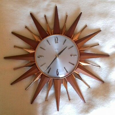 METAMEC SUNBURST STARBURST VINTAGE WALL CLOCK TEAK & COPPER very fast 45cm