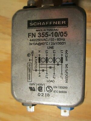 Schaffner FN355-10/05 Three Phase Line Filter 440/250 VAC 10A / phase