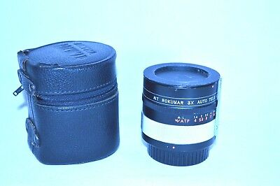 MT Rokunar 3X Tele Converter Lens for Minolta M/MD with Caps/Case Japan (LN-117)
