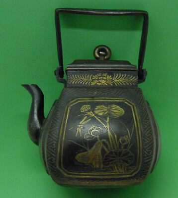 Nice Old Oriental Teapot Bronze Metal With Birds Dragonfly Butterfly Flowers
