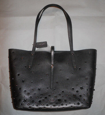 on sale 8343f c570d COACH Market Metallic Graphite Tote Hand Bag Leather Star Rivets Large *new*