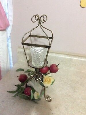 Home Interior / Homco Lantern Candle Holder With Apple Swag And Votive Cup