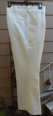 Vintage 70s mens summer open weave white pants with10.5 inch bells size 34 x 31