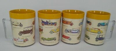 4 DECOR MUGS insulated cups vintage retro kitsch cars vehicles picnic