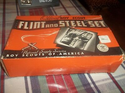 Vintage Boy Scouts Flint and Steel Set in Original Box with Contents BSA 1946