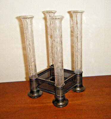 """Victorian Pairpoint Silverplate Cut Glass Quadruple Spill / Bud Vase Epergne 8"""""""