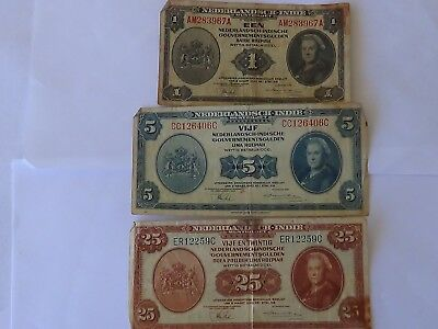Three(3) 1943 Netherlands Indies Banknotes.