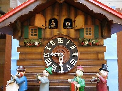 VINTAGE Automaton Chalet Style CUCKOO CLOCK Dancing band / Trumpton music KUNEC