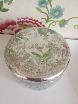 Vintage Silver Plated Trinket Pot Heavily Engraved Floral Pattern Beautiful!