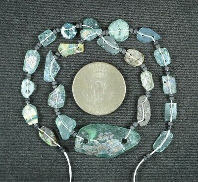 Ancient Roman Glass Beads 1 Medium Strand Aqua And Green 100 -200 Bc 918