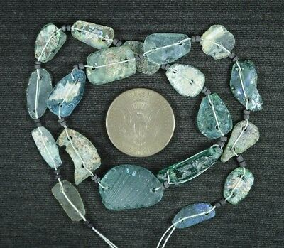 Ancient Roman Glass Beads 1 Medium Strand Aqua And Green 100 -200 Bc 919