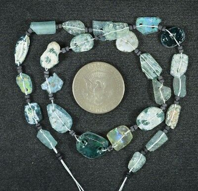 Ancient Roman Glass Beads 1 Medium Strand Aqua And Green 100 -200 Bc 920
