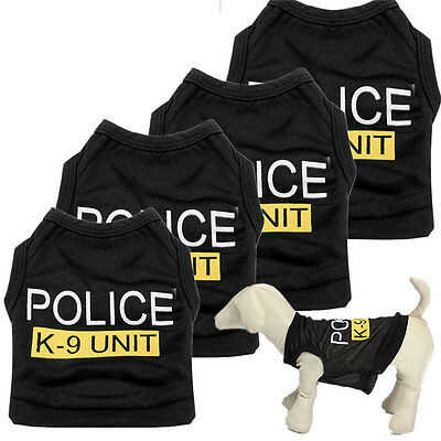New Dog Cat Vest Police Puppy T-Shirt Coat Pet Clothes Summer Apparel Costumes