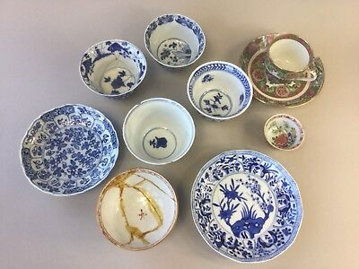 A Selection of 6 Cups and 3 Saucers A/F - 18th/19th/20th Century