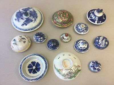 A Selection of 12 Chinese / Oriental Porcelain Lids / Covers