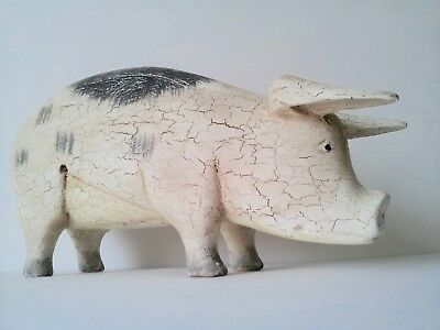 Folk Art Style, Naive Wooden Pig With Antique Crackle Glaze Effect
